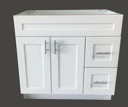 New White Shaker Single-sink Bathroom Vanity Base Cabinet 36