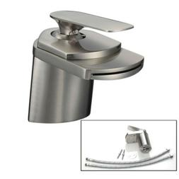 "Nickel Bathroom 4"" Brushed Basin Faucet Waterfall Vanity Sin"