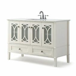 Paige 48 inch Bath Vanity in Soft White with White Engineere