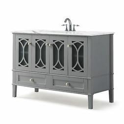 Paige 48 inch Bath Vanity in Warm Grey with White Engineered