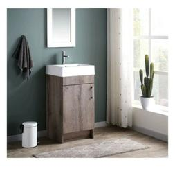 Rustic Grey Finish Single Sink Vanity Cabinet W/ Top 17.75 i
