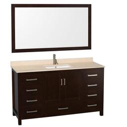 Sheffield 60 Espresso Single Vanity w/ Ivory Marble Top & Un