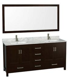 Sheffield 72 Espresso Double Vanity, Carrera Marble Top, Und