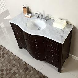"48"" Single Sink White Marble Top Bathroom Vanity Cabinet Bat"
