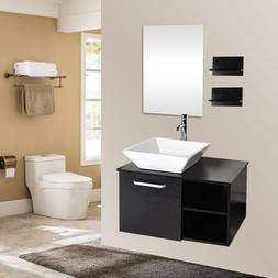 small bathroom floating vanity cabinet wood glass