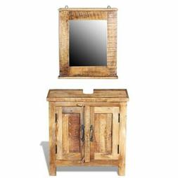 Bathroom Vanity Cabinet with Mirror Solid Mango Wood
