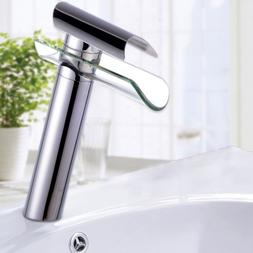 Tall Bathroom Vessel Sink Vanity Faucet One Handle Glass Wat