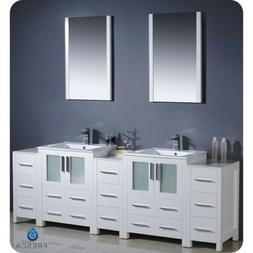 torino 84 white modern double sink bathroom
