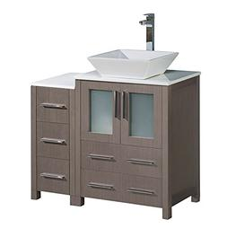 "Fresca Torino 36"" Gray Oak Modern Bathroom Cabinets with Top"
