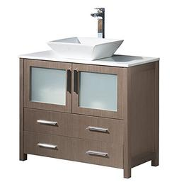 "Fresca Torino 36"" Gray Oak Modern Bathroom Cabinet with Top"