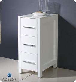 Torino 12 Inch White Bathroom Linen Side Cabinet