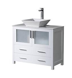 "Fresca Torino 36"" White Modern Bathroom Cabinet with Top and"