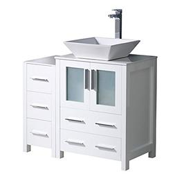 "Fresca Torino 36"" White Modern Bathroom Cabinets with Top an"