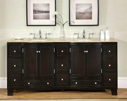 "72"" Travertine Stone Countertop Bathroom Double Vanity Cabin"