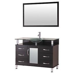 """42"""" Bathroom Vanity Cabinet with Sink Glass Top and Mirror E"""