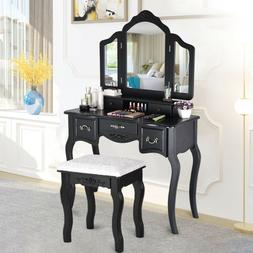 Vanity Makeup Dressing Table Set W/Stool 5 Drawers & Tri Fol