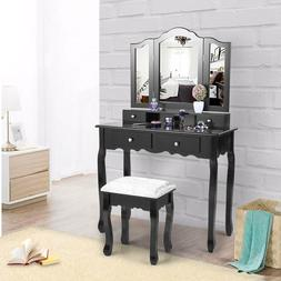 Vanity Makeup Dressing Table Set W/Stool 4 Drawers & Tri Fol