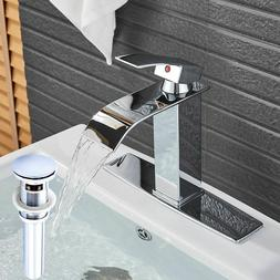Waterfall Bathroom Vanity Sink Faucet Rectangular Spout Chro