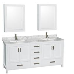 Wyndham Collection WCS141472DWH Sheffield 72-in. Double Bath