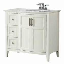"Simpli Home Winston 36"" Bath Vanity Rounded Front with Quart"
