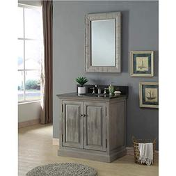InFurniture WK8336+WK TOP Bathroom Double Sink Vanity, Grey