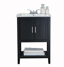 24 in.Bath Vanity in Espresso with Ceramic Top